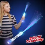 "Buy 15"" White Fiber Optic LED Light Up Glow Wand with Strobe"