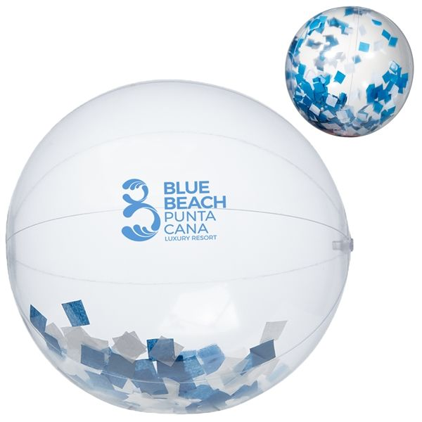 "Main Product Image for 16"" Blue and Silver Confetti Filled Round Clear Beach Ball"