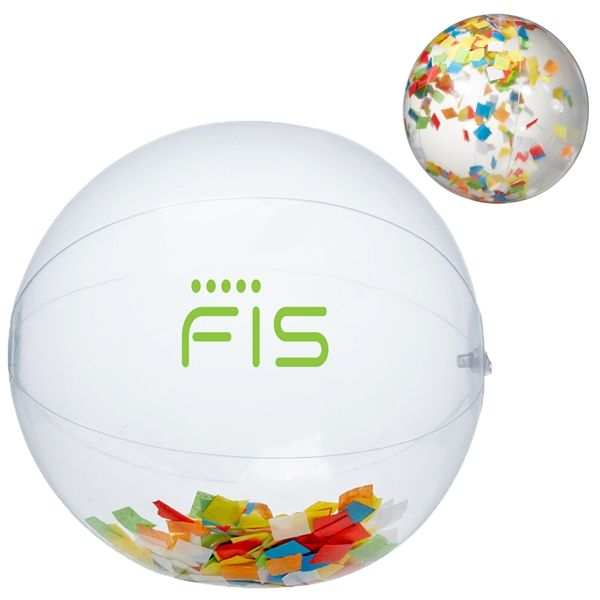 "Main Product Image for 16"" Multi Color Confetti Filled Round Clear Beach Ball"