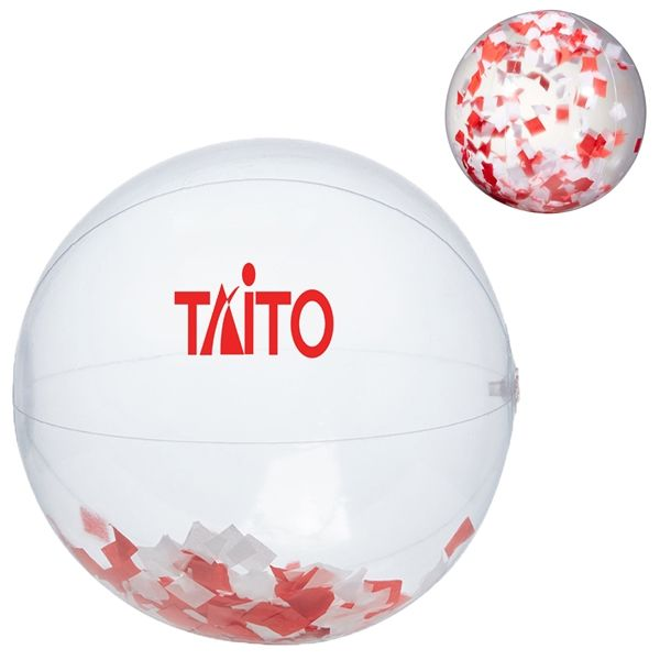 "Main Product Image for 16"" Red and Silver Confetti Filled Round Clear Beach Ball"