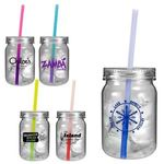 Buy Mason Jar Plastic with Color Changing Straw and Lid 24 oz