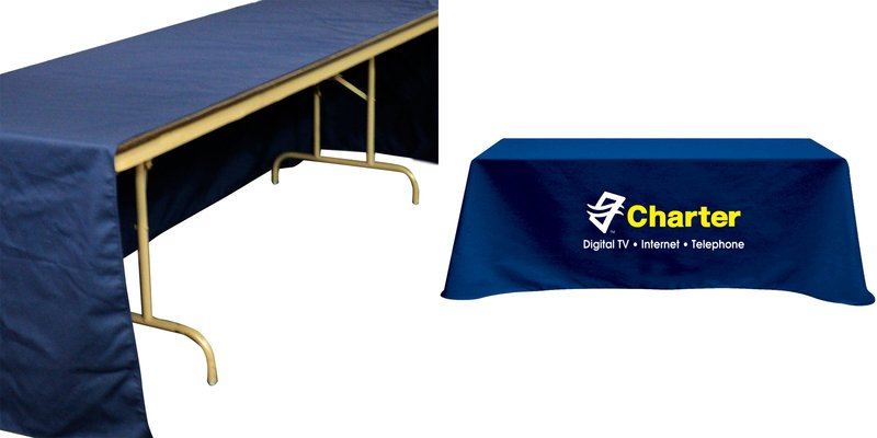 Flat 3-sided Table Cover - fits 8 foot standard table  sc 1 st  Imprint Logo & Flat 3-sided Table Cover - fits 8 foot standard table with your ...