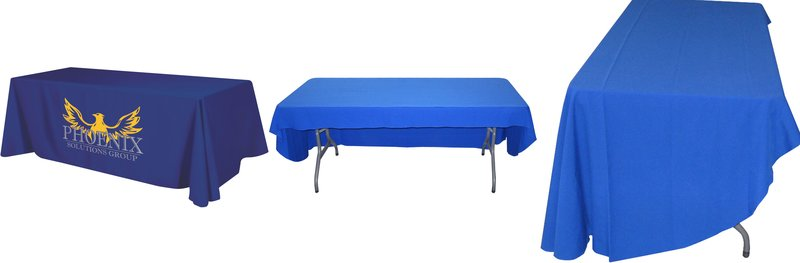 1 Trade Show Table Covers Custom Printed Flat 3 Sided