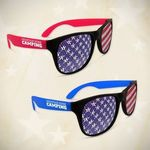 Buy Custom Sunglasses American Flag Neon Red Billboard