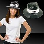 Buy Black Plastic Fedora with White Band