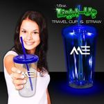 Buy Travel Cup Custom Imprinted Light up Blue with Lid and Straw