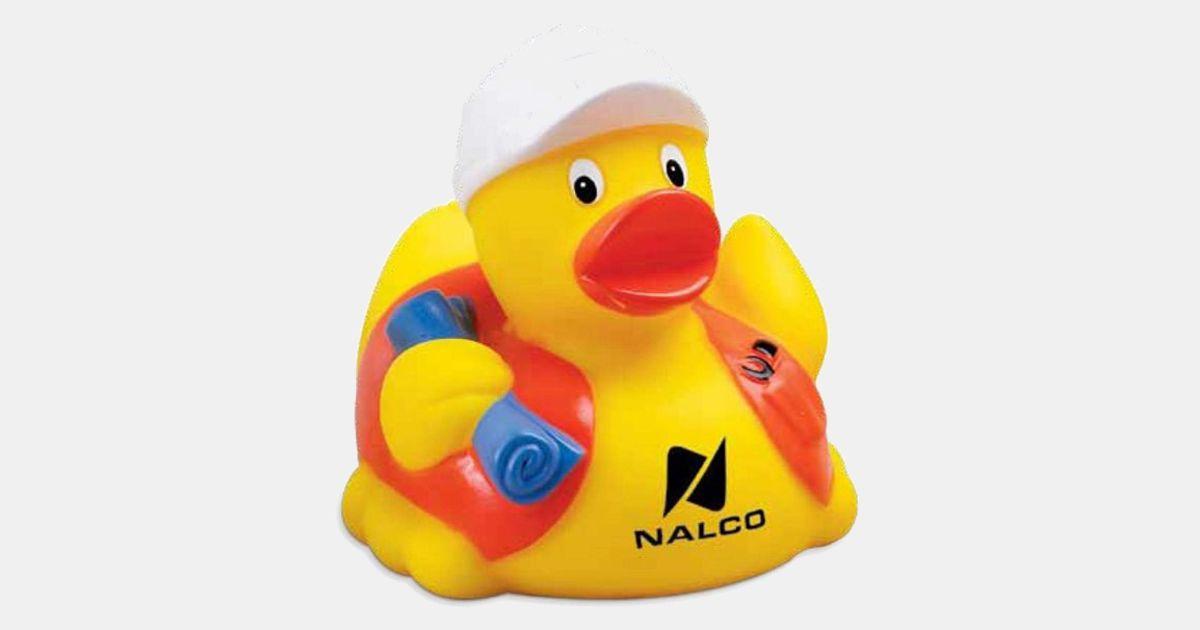Custom Imprinted Rubber Duck Construction Worker