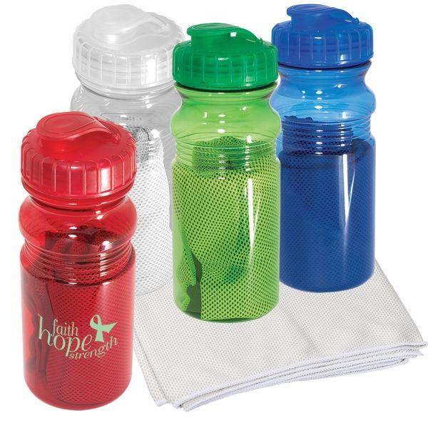 Sweat Towel Water Bottle: Water Bottle With Cooling Towel 20 Oz
