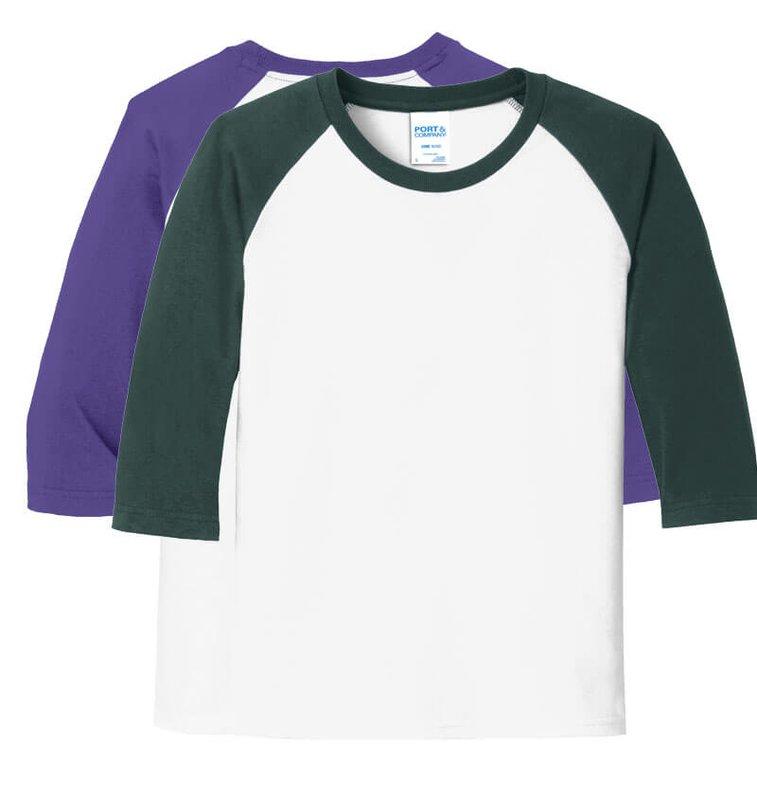 71cf7b789 Main Product Image for Custom T Shirt Design Port & Company Youth 3/4-.  Zoom. Add My Logo