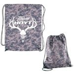 Buy Custom Imprinted Drawstring Backpack Digital Camouflage RPET