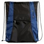 Drawstring Bag with Zipper Pouch - Blue