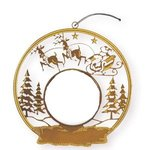 Express Snow Sled Holiday Ornament - Bright Gold