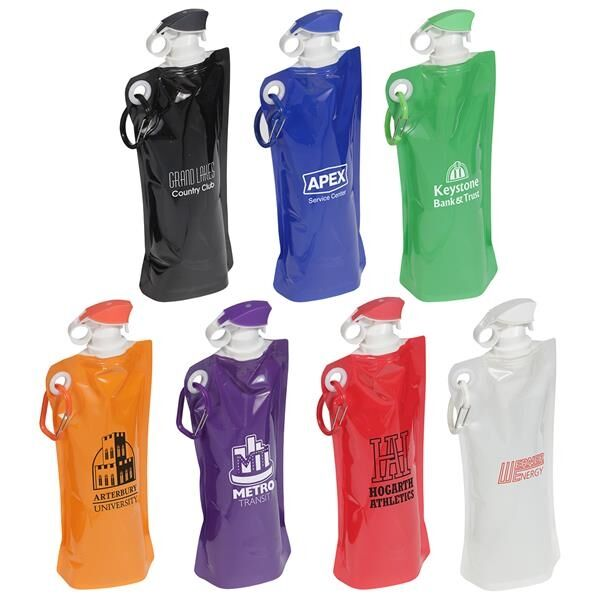 Main Product Image for Flip Top Foldable Water Bottle with Carabiner