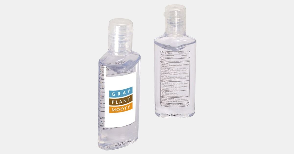 Hand Sanitizer In Oval Bottle 1 Oz With Your Logo