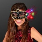 Buy Mardi Gras Mask Light Up Feathers Black