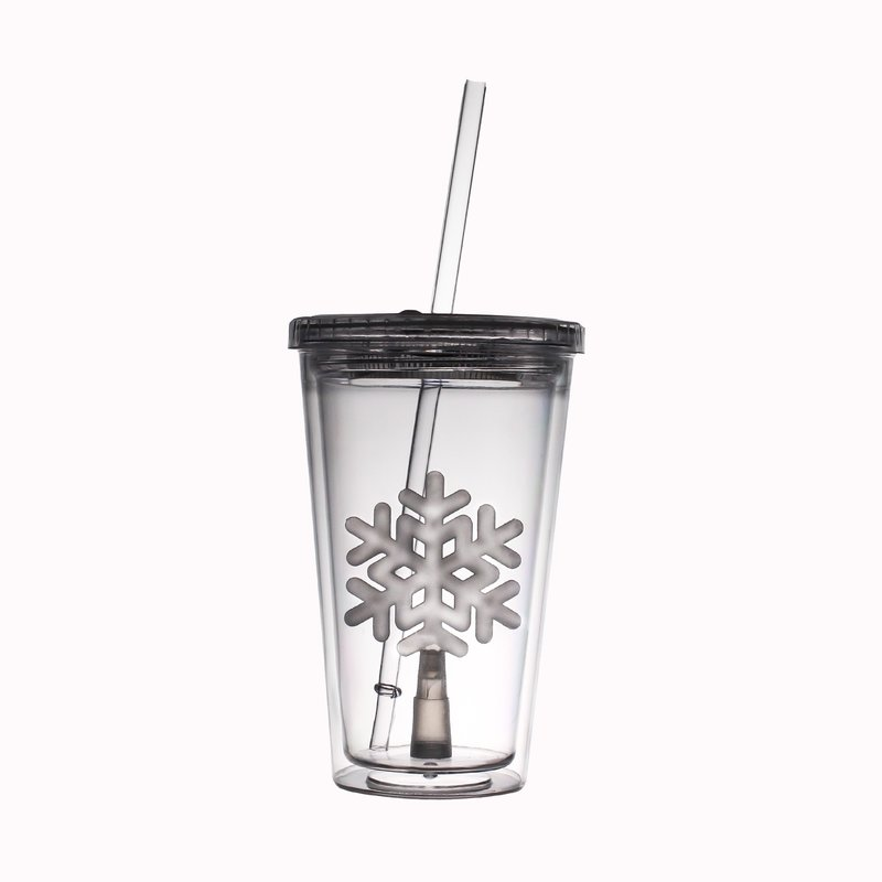 Glow Led Travel Cup With Snowflake Insert 16 Oz