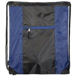 Porter Collection 210D Polyester/Mesh Pattern Drawstring Bag - Blue