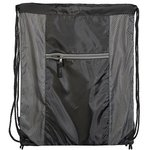 Porter Collection 210D Polyester/Mesh Pattern Drawstring Bag - Gray