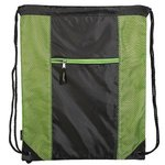 Porter Collection 210D Polyester/Mesh Pattern Drawstring Bag - Lime Green