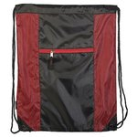 Porter Collection 210D Polyester/Mesh Pattern Drawstring Bag - Red