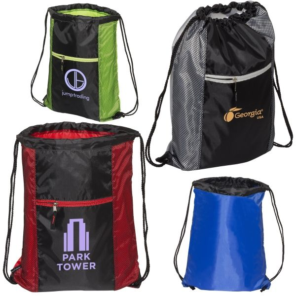 Main Product Image for Porter Collection 210D Polyester/Mesh Pattern Drawstring Bag