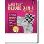 PUZZLE PACK,  Large Print Deluxe 3-in-1 Puzzle Book - Multi Color