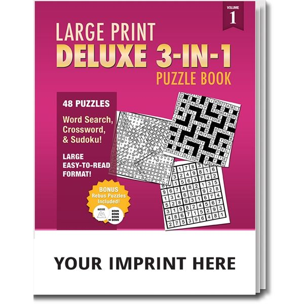 Main Product Image for PUZZLE PACK,  Large Print Deluxe 3-in-1 Puzzle Book