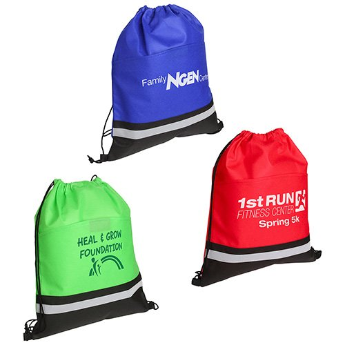 Main Product Image for Custom Imprinted Drawstring Bag Safety with Reflective Strip