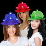 Buy Costume Hat Sequin LED Light Up Fedora