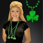 SHAMROCK MEDALLION WITH GREEN MARDI GRAS BEADS - Green
