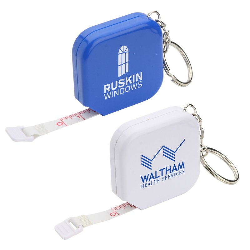 Main Product Image for Custom Imprinted Key Tag with Square Tape Measure