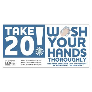 Main Product Image for Take 20! Wash Your Hands Stickers - Imprinted