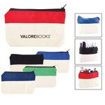 Buy Two-Tone Zip Cotton Valuables/School Supplies Pouch