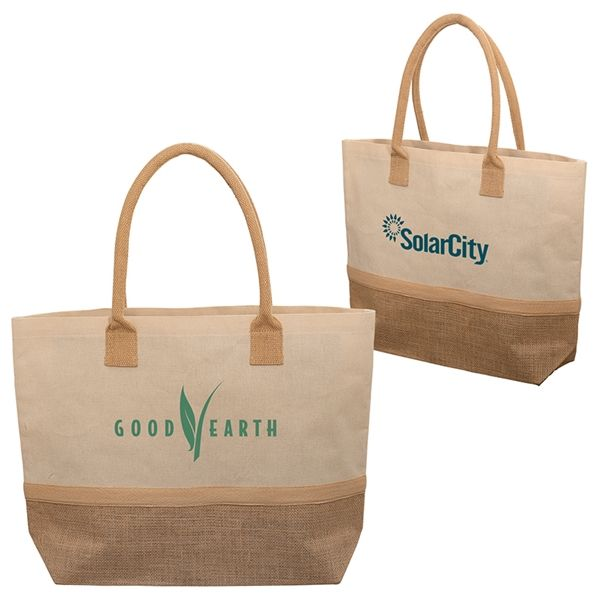 Main Product Image for Wanderlust Laminated Jute & Canvas Tote